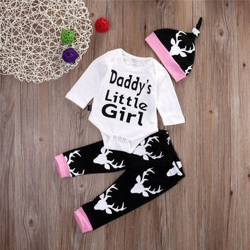 3PCS Newborn Toddler Baby Girls Rompers Outfits Set Long Sleeve White Romper + Deer Printing Casual Pants Hat Winter Clothes