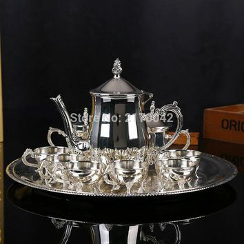 DCCKJG2 New Shiny Silver Finish Coffee Tea Milk Set High Grade Drinkware Wine Sets For Wedding Or Party 1 Set/4Pcs