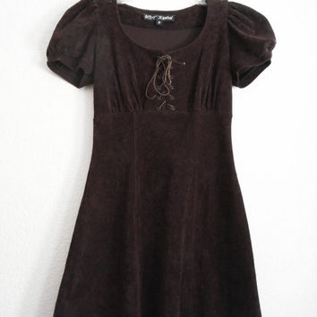 Rare Vintage 90s Betsey Johnson Peasant Style Faux Suede Dress in Dark Brown, US Women Size XS - Small.