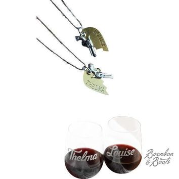Thelma & Louise Friendship Necklace & Paired Wine Glasses