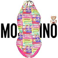 Moschino Fashion Women Stripe One Piece Bikini Block letter combination