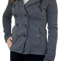 Hooded Fleece Peacoat Charcoal - Charcoal /