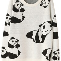 Lovely Graphic Pnada Print Long-Sleeve Knit Sweater - OASAP.com