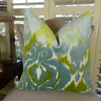 Teal Pillow - Teal Citrine Green Cream Ikat Pillow Cover - Teal Velvet Throw Pillow - Designer Teal Pillow - Teal Pillow - 11363