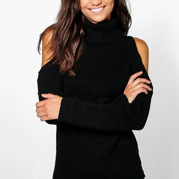 Tall Shay High Neck Cold Shoulder Jumper | Boohoo