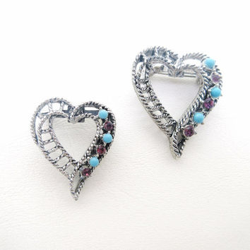 Vintage Heart Brooches / Lingerie Pins / Rhinestones Hearts, Silver Metal Open Heart Creations, Gerrys Jewelry