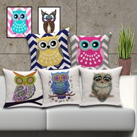 "18"" Vintage Cute Owl Cushion Covers"