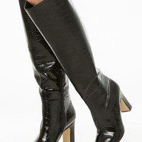 Faux Croc Over-The-Knee Boots