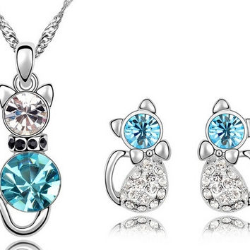 Romantic Engagement Gold Plated Cute Cat Jewelry Sets Necklace Earrings = 1930006532
