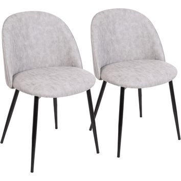 Luna Contemporary Dining / Accent Chairs with Grey PU, Black (Set of 2)