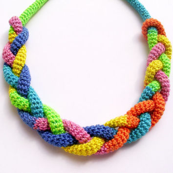 FREE SHIPPING, Multicolor rope necklace, Knot necklace, Braided rope necklace, Crochet rope necklace