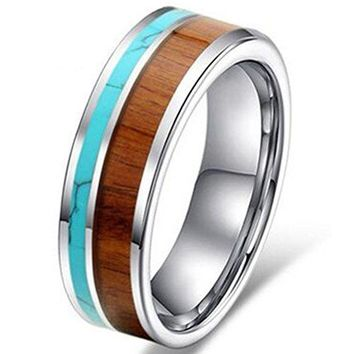8mm Tungsten Ring Vintage Wedding Engagement Band with 100% Koa Wood Solid Turquoise Flat Top