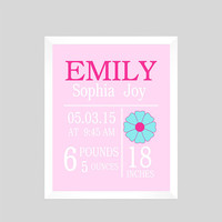 Personalized Birth Stats on Light Pink Background Print Flower CUSTOMIZE YOUR COLORS 8x10 Prints Nursery Wall Decor Baby Room Decor Kids