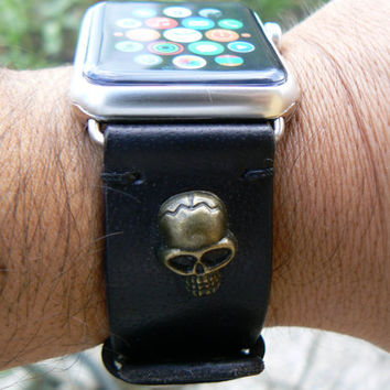 Apple Watch Strap, Black Leather Watch Band, personalized mens gift Skull leather strap, moto 360 strap, black leather watch strap