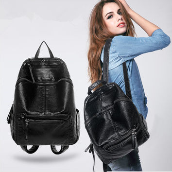 Stylish Casual On Sale Back To School College Comfort Hot Deal Soft Rinsed Denim Fashion Big Capacity Backpack [6449381508]