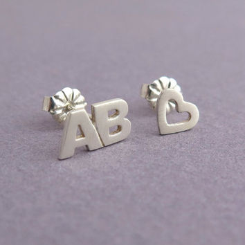 Initials & Heart Earrings - Letters Studs - Personalized Jewelry - Love Earrings - Silver Mismatched Earrings