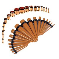 BodyJ4You Gauges Kit Brown Tapers Rose Gold Plugs Steel 14G-00G Stretching Set 36 Pieces