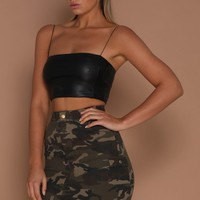 Lidia Faux Leather Crop - Black