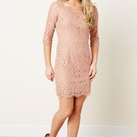 One Evening Dusty Rose Lace Dress