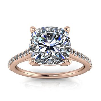 8 mm Cushion Cut Forever One Moissanite and Diamond Engagement Ring - Keeley