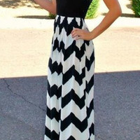 Black Chevron Summer Maxi Dress