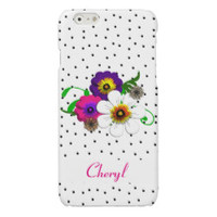 Pretty Flower And Spots Design Glossy iPhone 6 Case