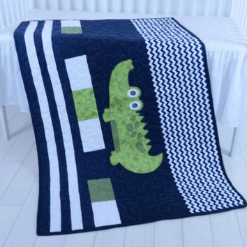 Alligator Blanket, Boy Nursery Blanket, Navy Stripes, Preppy Quilt Blanket, Madras Alligator Blanket,  Baby Boy Room,  Navy Chevron Quilt