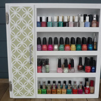 Handcrafted Wood Nail Polish Wall Shelf with Cupboard