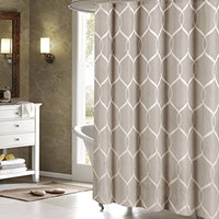 Royal Bath Quey Wrinkle Wave Fabric Shower Curtain /Taupe