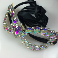 Ceirra Art Deco Cluster Statement Masquerade Mask | Gold | Crystal
