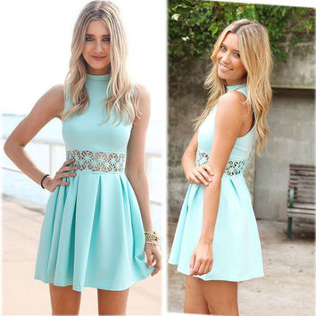 Women Mint Blue Hollow Out Dress +Necklace