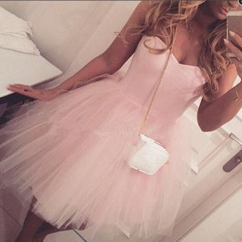 Simple Elegant Pink Sweetheart Strapless Tulle Mini Homecoming Dress 2016 New Arrival