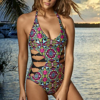 Retro Print Bow Strappy One Piece Swimsuit Swimwear