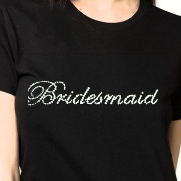 T-shirt for Women Handmade Rhinestone on T -Shirt for Women Beautiful Designs BRIDES / BRIDESMAID