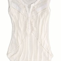AEO Women's Crocheted Lace Top