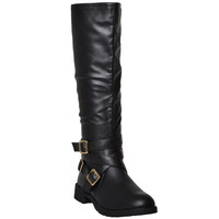 Womens Knee High Boots Accented Ankle Chain Crisscrossed Strap Buckles  Black