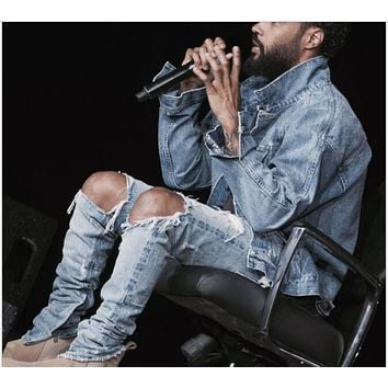 New 2017 Kanye West Black Motorcycle Camouflage Jeans Denim Pants Skinny Ripped Jeans For Men Male Swag Hole Biker Jeans