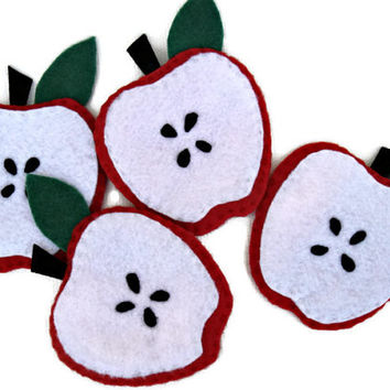 Handmade felt coasters with apple shape. Set of 4. Red and white.