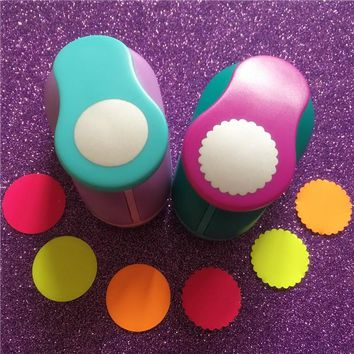 2.5cm(1 inch) Circle and Wave Circle Shape hole punch set Puncher Crafts Scrapbooking round DIY Paper Cutter Punches Free ship