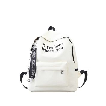 Slogan Ribbon Embroidered Backpack White
