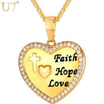U7 Gold/Silver Color Cross Heart Love Pendant Necklace Women Jewelry Cubic Zirconia Faith Hope Necklaces Gift For Her P1123
