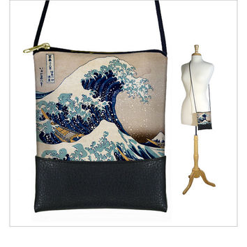 SALE Small Cross Body Purse, The Wave Hokusai , Mini Crossbody Bag fits iPhone 6 Plus, Vegan Black Leather Bag Japanese Asian Art blue (RTS)