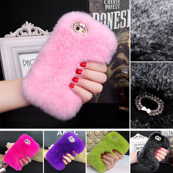 5S Real Rabbit Hair Case for iPhone SE 5 Bling Shiny Diamond Fur Rhinestone Bling Plush Furry Hard Back Cover For Iphone 5s