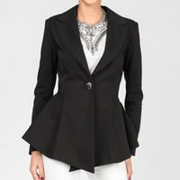 Black Peplum Hi-Low Blazer