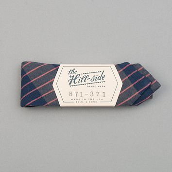 TH-S Mills Navy Warp Bow Tie, Large Grid Check