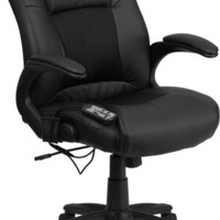 Massaging Black Leather Executive Swivel Office Chair