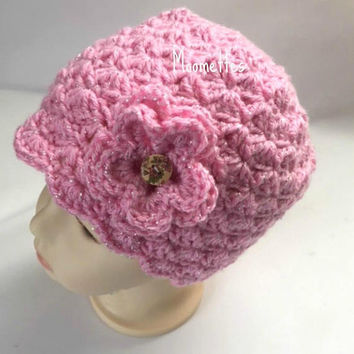 Handmade Beanie Baby Toddler Girls Hat Shell Pink Crochet Flower Painted Wood Button
