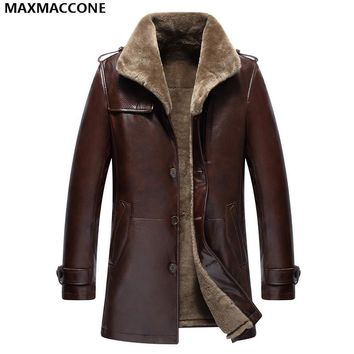 2018 Men Long Brown Genuine Shearling Coat Plus Size XXXXL Single Breasted Winter Thick Real Cowhide Fur Jacket FREE SHIPPING