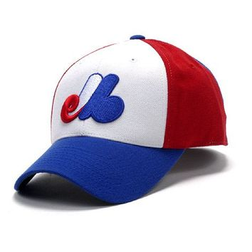 Men's American Needle 1983 Montreal Expos Red/White/Royal Cooperstown Fitted Cap