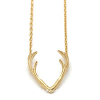 antler necklace, reindeer necklace, reindeer horn necklace, animal necklace, cool necklace, gold necklace, reindeer horn, winter jewelry